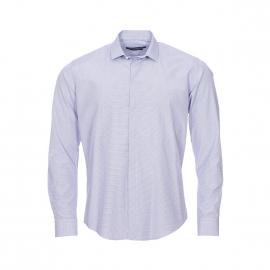 Chemise cintrée Gianni Ferrucci blanche à quadrillage bleu marine