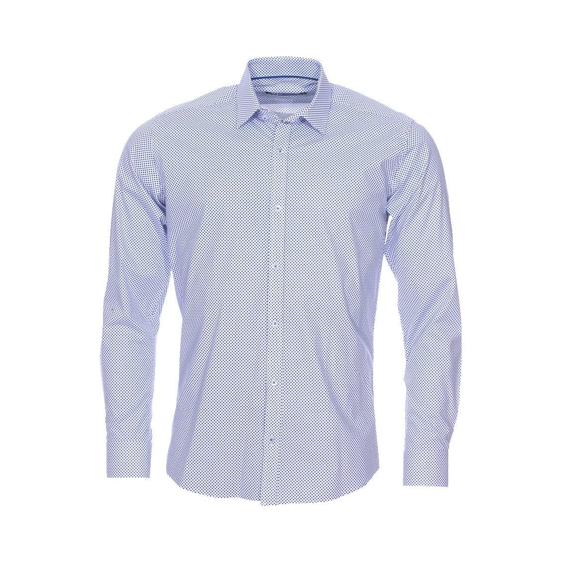 Chemise cintrée  blanche à pois bleu cobalt