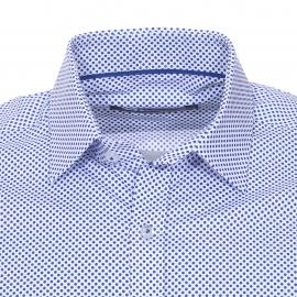 Chemise cintrée Gianni Ferrucci blanche à pois bleu cobalt