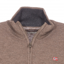 Pull col zippé Napapijri en laine marron clair