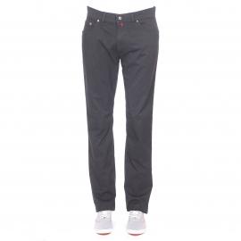 Pantalon droit Pierre Cardin noir à fines rayures blanches