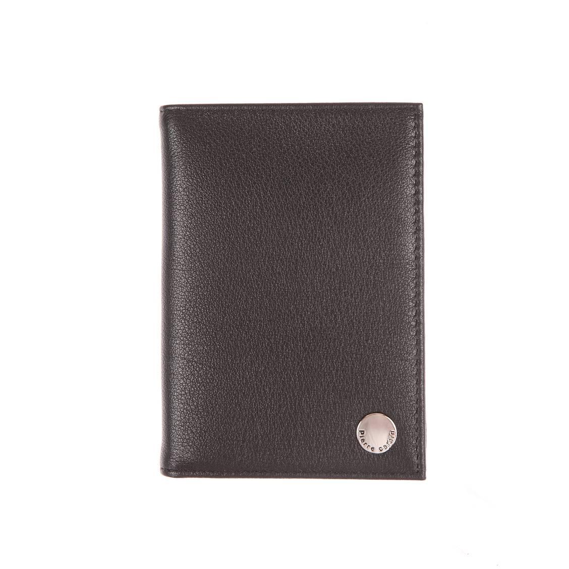 Portefeuille européen 4 volets pierre cardin en cuir grainé noir à porte-monnaie zippé