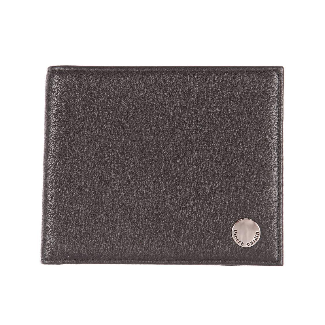 Petit portefeuille européen 2 volets Pierre Cardin en cuir grainé noir à porte-monnaie zippé Yha7cR
