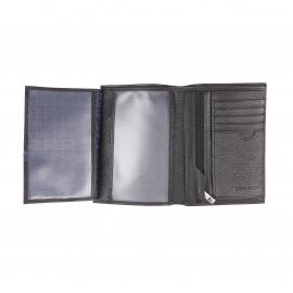 Grand portefeuille européen 4 volets Pierre Cardin en cuir grainé noir, porte-monnaie intégré