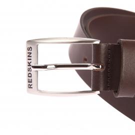 Ceinture ajustable Carver Redskins en cuir marron, boucle rectangulaire à ardillon