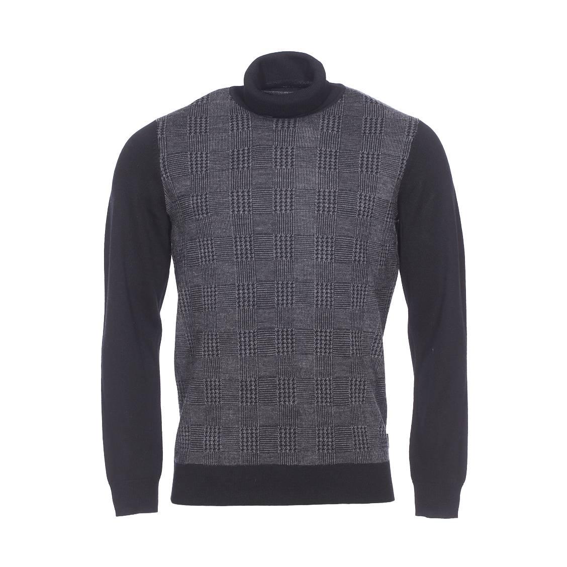 Pull col roulé  en laine mélangée noire à motifs quadrillés gris anthracite chiné