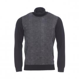 Pull col roulé Ben Sherman en laine mélangée noire à motifs quadrillés gris anthracite chiné
