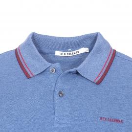 Polo Ben Sherman en piqué de coton bleu chiné