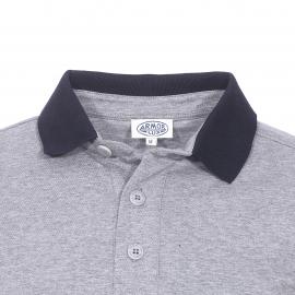 Polo manches longues Armor Lux en jersey de coton gris chiné à rayures crème et bleu marine