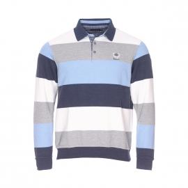 Polo chaud Ethnic Blue à rayures bleues, blanches et grises
