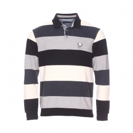 Polo chaud Ethnic Blue à rayures blanches, grises et noires