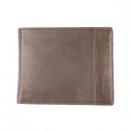 Portefeuille italien Picard en cuir texturé gris à 3 volets