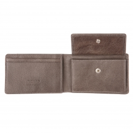 Petit portefeuille Buddy Picard en cuir gris à 3 volets