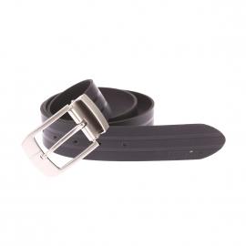 Ceinture ajustable Portman en cuir noir à rayures ton sur ton à boucle rectangulaire argentée