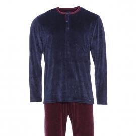 Pyjama long Impetus en velours  : sweat col tunisien bleu marine et pantalon prune