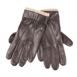 Gants Glove Story en cuir d'agneau marron à bord côtelé marron clair
