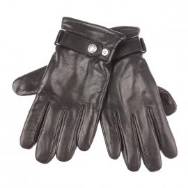 Gants Glove Story en cuir d'agneau noir, à poignets ajustables