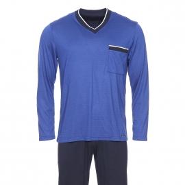 Pyjama long Impetus en modal mélangé : tee-shirt col V bleu électrique à pois bleu marine et pantalon bleu marine