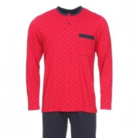 Pyjama long Impetus en coton et modal : tee-shirt col tunisien rouge à motifs bleu marine et pantalon bleu marine