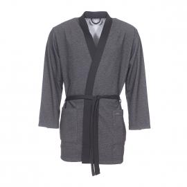 Kimono court Impetus noir à motifs gris