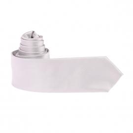 Cravate en microfibres gris perle à fines rayures ton sur ton