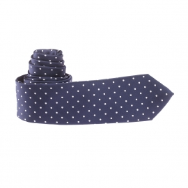Cravate bleu marine à pois blancs