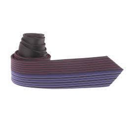 Cravate slim bleu marine à rayures bleu électrique, corail et blanches