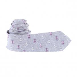 Cravate slim bleu chiné de blanc à motifs prune et gris