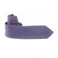 Cravate bleu marine à fleurs violettes et blanches