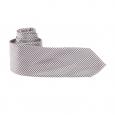 Cravate grise à petits carreaux noirs