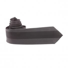 Cravate noire à motifs gris et rayures ton sur ton