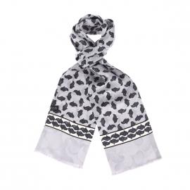 Echarpe en soie grise à imprimé cachemire