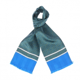 Echarpe en soie bleu turquoise à petits motifs cachemires