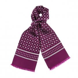Echarpe en soie violette à motifs géométriques blancs