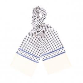 Echarpe en soie blanche à petits carreaux bleus