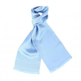 Echarpe en soie bleu ciel à rayures ton sur ton