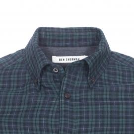 Chemise droite Ben Sherman en coton à carreaux bleu marine, vert foncé et noirs