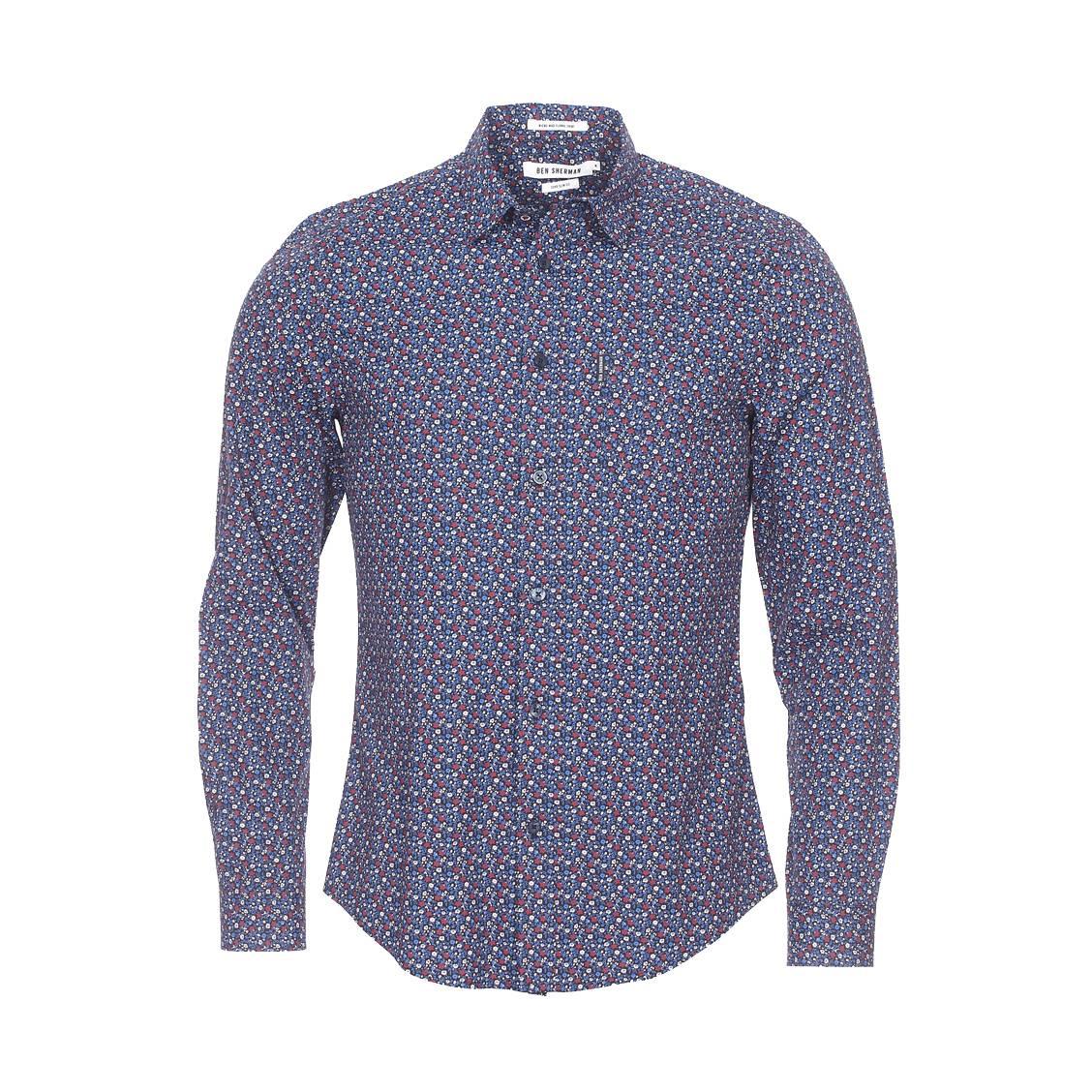 chemise cintr e ben sherman en coton bleu marine fleurs bleues bordeaux et marron clair rue. Black Bedroom Furniture Sets. Home Design Ideas