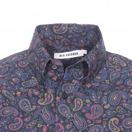 Chemise droite Ben Sherman en coton noir à imprimé cachemire