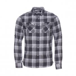 Chemise ajustée Superdry en coton à carreaux carreaux gris, noirs et blancs