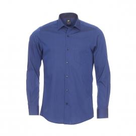Chemise droite Pierre Cardin en coton fil à fil bleu marine à fines rayures