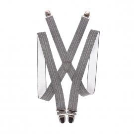 Bretelles fantaisies gris chiné à bandes gris souris et blanches