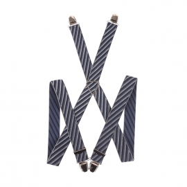 Bretelles fantaisies à rayures grises, bleu marine et bleu pétrole