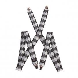 Bretelles fantaisies à losanges gris clair, gris souris, gris anthracite et noirs