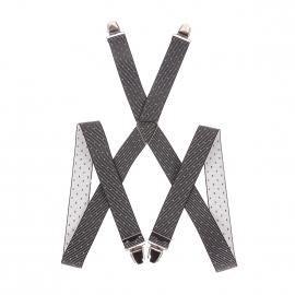 Bretelles fantaisies à rayures noires et grises à pois gris