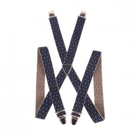 Bretelles fantaisies bleu marine à motifs marron clair