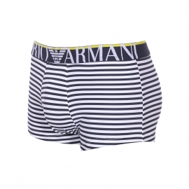 Boxer Emporio Armani en polyamide stretch rayé bleu marine et blanc