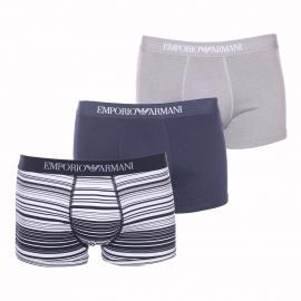 Lot de 3 boxers Emporio Armani à rayures bleu marine et blanches, bleu marine uni et gris uni