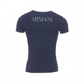 Tee-shirt col rond Emporio Armani en coton stretch bleu marine floqué sur la poitrine et dans le dos