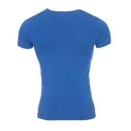 Tee-shirt col rond Emporio Armani en coton stretch bleu roi floqué sur la poitrine